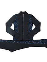 cheap -Figure Skating Jacket with Pants All Ice Skating Tracksuit Black / Blue Spandex High Elasticity Training Skating Wear Solid Colored Crystal / Rhinestone Long Sleeve Ice Skating Figure Skating / Kids