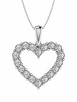 cheap -1/4 carat diamond heart pendant necklace in 925 sterling silver