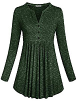 cheap -pullover tunic tops, womens elegant long sleeve chic henley v neck loose fit ruched curved hemline graceful peplum date blouses comfortable button design shirts army green xxl