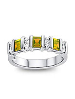 cheap -finejewelers 3x2mm baguette citrine and created white sapphire stackable band ring size 8.5