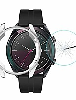 cheap -tpu case for huawei watch gt elegant 42mm hat-prince 2 in 1 full coverage electroplate tpu case + 0.2mm 9h 2.15d curved edge tempered glass film(black). (color : silver)