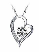 cheap -fashion peach heart necklace women's love zircon pendant chain festival gift for women girls (silver)