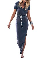 cheap -women summer v-neck short sleeve elastic waist side split casual pencil long maxi dress (s)