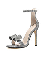 cheap -Women's Sandals Stiletto Heel Open Toe Casual Daily Walking Shoes PU Solid Colored Silver