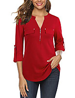 cheap -women's tunic tops, zip front v-neck 3/4 rolled long sleeve for leggings red xxx-large