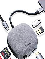 cheap -Baseus 7 in 1 Type-C HUB 3.0 to HDMI RJ45 Multi USB Adapter For MacbookPro2020 HUB USB C Splitter Laptop