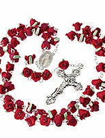 cheap -rosary beads catholic, 6 color, confirmation gifts for teenage girl, red polymer clay rose necklace jewelry, silver alloy cross necklace for women, gifts for women