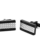 cheap -1 pair men's stainless steel square cufflinks tuxedo shirts business wedding (silver color)