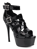 cheap -Women's Sandals Stiletto Heel Peep Toe Sexy Daily PU Solid Colored Black Yellow Green