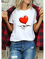 cheap -Women's T shirt Graphic Prints Letter Print Round Neck Tops 100% Cotton Basic Basic Top White Purple Red