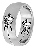cheap -surgical stainless steel 8mm domed wedding band ring turtle cut-outs pattern, size 8
