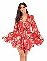 cheap -women bohemia skirt long sleeves v-neck flower print chiffon short dress flowy hem with waist belt red m