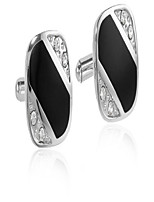 cheap -stacy adams men's cuff link with wide black diagonal stripe, silver, one size