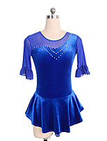 cheap -Figure Skating Dress Women's Girls' Ice Skating Dress Blue Patchwork Spandex High Elasticity Training Competition Skating Wear Crystal / Rhinestone Half Sleeve Ice Skating Figure Skating / Kids