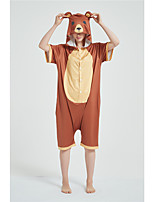 cheap -Adults' Kigurumi Pajamas Bear Onesie Pajamas Pure Cotton Brown Cosplay For Men and Women Animal Sleepwear Cartoon Festival / Holiday Costumes