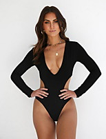 cheap -Women's Fashion Sexy One Piece Swimsuit Slim Normal Swimwear Bathing Suits White Black Red