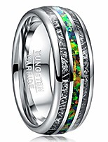 cheap -8mm crushed opal rings tungsten carbide wedding anniversary bands with imitated meteorite inlay high polished comfort fit size 8