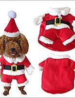 cheap -pet dog cat suit christmas costumes with cute santa cap winter warm clothes coat sweater dress l