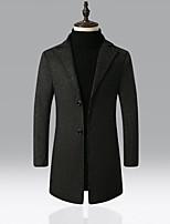 cheap -Men's Shawl Lapel Overcoat Regular Solid Colored Work Black Wine Khaki Gray S M L XL