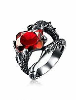 cheap -ufooro halloween stainless steel rings for men 316l punk rock gothic cool evil jewelry (red, 10)