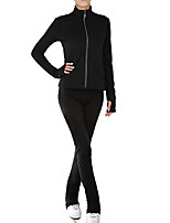 cheap -Figure Skating Jacket with Pants Women's Girls' Ice Skating Pants / Trousers Top Black Blue Patchwork Spandex High Elasticity Training Competition Skating Wear Solid Colored Long Sleeve Ice Skating