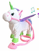 cheap -unicorn plush toys singing walking electronic pet pegasus robot horses stuffed animal musical pony soft toy gift for baby toddlers kids battery powered (pink)