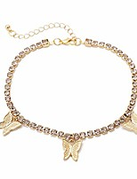cheap -rhinestone tennis butterfly anklet for women teen girls, 18k gold/white gold plated chain ankle bracelets for women with extension (gold)