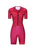 cheap -Men's Women's Short Sleeve Triathlon Tri Suit Polyester Red Polka Dot Bike Clothing Suit Breathable 3D Pad Quick Dry Reflective Strips Sweat-wicking Sports Polka Dot Mountain Bike MTB Road Bike