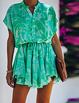 cheap -Women's Sheath Dress Short Mini Dress - Short Sleeve Floral Lace up Summer V Neck Casual Slim 2020 Green S M L XL