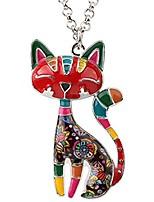 cheap -statement enamel alloy chain cat necklaces pendant original design for women girls (multicolor)
