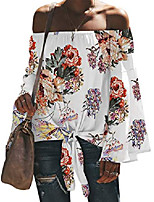 cheap -women's sexy tops off shoulder long sleeve blouse tunic swing casual t-shirt 103-white floral 2xl
