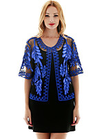 cheap -Half Sleeve Coats / Jackets Poly&Cotton Blend Party / Evening / Office / Career Women's Wrap With Embroidery / Paillette