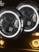 cheap -2 Pcs 7 Inch Led Headlight H4 DRL Round 7'' Headlights with Yellow & White Angel Eye for Jeep Wrangler Lada Niva 4x4 50W 30W