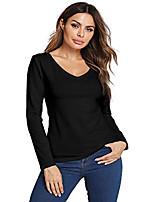 cheap -baisc women's cotton long sleeve v-neck t-shirt comfortable casual tops tees(black/l)