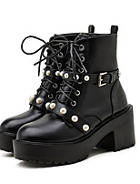 cheap -Women's Boots Chunky Heel Round Toe Booties Ankle Boots Punk & Gothic Daily Walking Shoes PU Rivet Buckle Lace-up Solid Colored Black / Mid-Calf Boots