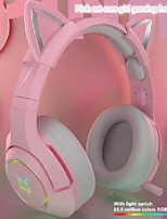 cheap -girl gaming headset noise-reduction k9 pink enc cute hifi cat wired with mic ear rgb