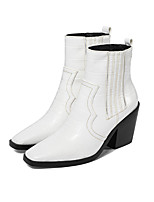 cheap -Women's Boots Chunky Heel Square Toe Booties Ankle Boots Casual Daily Walking Shoes Leather PU Check Solid Colored White Black Yellow / Booties / Ankle Boots