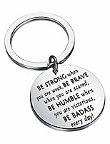 cheap -be strong be brave be humble be badass everyday inspirational stainless steel disc pendant keychain motivational gift (strong brave humble badass)
