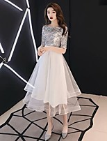 cheap -A-Line Glittering Elegant Party Wear Prom Dress Jewel Neck Half Sleeve Tea Length Tulle with Pleats Sequin 2020