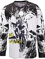cheap -21Grams Men's Long Sleeve Downhill Jersey Spandex White Bike Jersey Top Mountain Bike MTB Road Bike Cycling UV Resistant Quick Dry Sports Clothing Apparel / Athletic