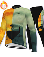 cheap -21Grams Men's Long Sleeve Cycling Jacket with Pants Winter Fleece Spandex Orange Bike Fleece Lining Warm Sports Graphic Mountain Bike MTB Road Bike Cycling Clothing Apparel / Stretchy / Athleisure