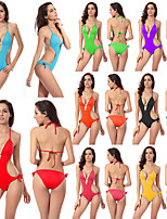 cheap -Women's Fashion Sexy Board Shorts Swimsuit Lace up Padded Normal Swimwear Bathing Suits Light Blue Black Purple / One Piece