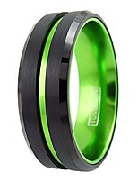 cheap -sublime 6mm/8mm black tungsten carbide wedding band w/lime green stripe & matching green anodized aluminum inner band. (tungsten (8mm), 12.5)