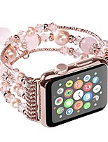 cheap -apple watch band handmade fashion elastic stretch faux pearl natural stone bracelet replacement iwatch strap women for apple watch series 2 series 1 all version for girls mother gift (42mm)
