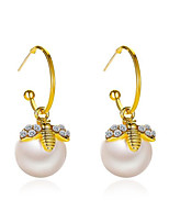 cheap -Women's Pearl Drop Earrings Classic Bee Stylish Earrings Jewelry Gold For Anniversary Date Birthday Festival 1 Pair