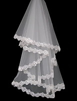 cheap -Two-tier Lace Wedding Veil Cathedral Veils with Solid 59.06 in (150cm) Tulle