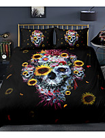 cheap -Skull Print 3-Piece Duvet Cover Set Hotel Bedding Sets Comforter Cover with Soft Lightweight Microfiber, Include 1 Duvet Cover, 2 Pillowcases for Double/Queen/King(1 Pillowcase for Twin/Single)