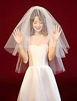 cheap -Two-tier Comtemporary / Classic Wedding Veil Elbow Veils with Trim POLY / 100% Polyester