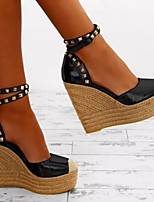 cheap -Women's Sandals Wedge Heel Peep Toe Casual Daily PU Color Block Black Gold