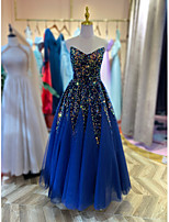 cheap -Ball Gown Sparkle Elegant Engagement Formal Evening Dress V Neck Sleeveless Floor Length Sequined with Pleats Sequin 2020